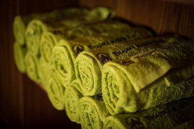 Towels in the larger massage room